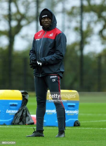 Claude Makelele Swansea assistant coach watches the players train during the Swansea City Training at The Fairwood Training Ground on October 11 2017...