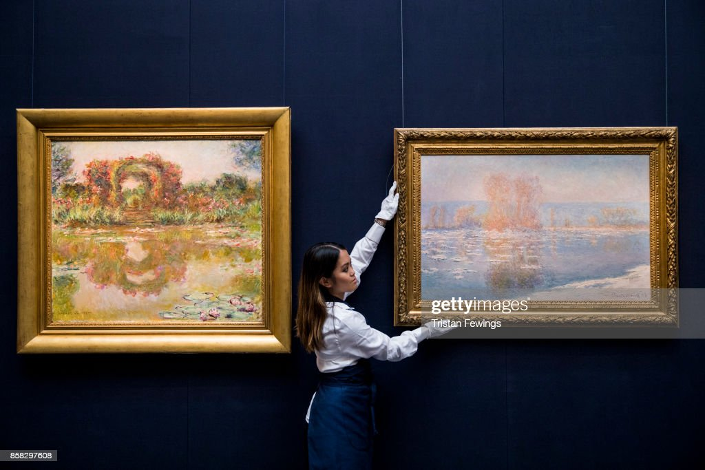 Claude Monet's Les Arceaux de roses, Giverny (Estimate $20-30 million) and Les Glacons, Bennecourt (Estimate $18-25 million) go on view as part of Sotheby's Contemporary Impressionist New York TRAVEX highlights preview at Sotheby's on October 6, 2017 in London, England. The Contemporary Art Evening Auction takes place at Sothebys New York on 16th November 2017.