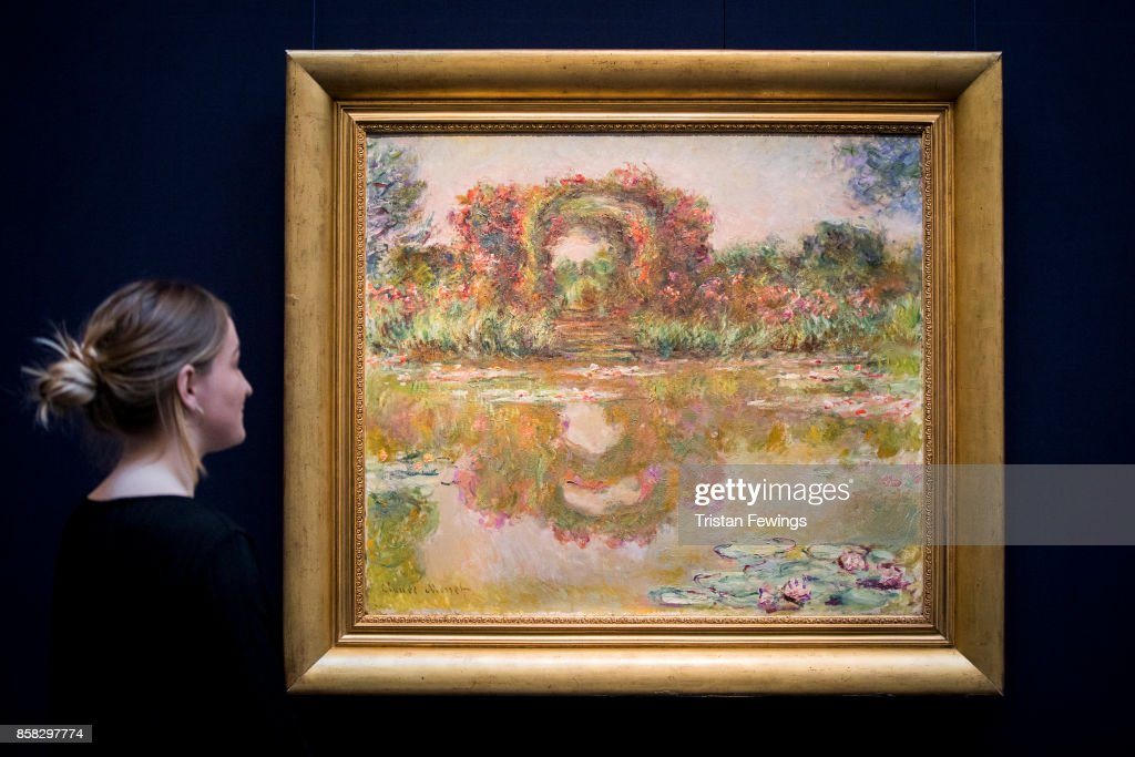 Claude Monet's Les Arceaux de roses, Giverny (Estimate $20-30 million) goes on view as part of Sotheby's Contemporary Impressionist New York TRAVEX highlights preview at Sotheby's on October 6, 2017 in London, England. The Contemporary Art Evening Auction takes place at Sothebys New York on 16th November 2017.