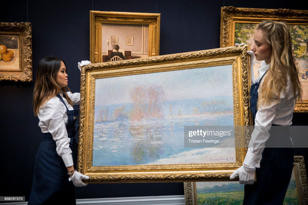Claude Monet's Les Glacons, Bennecourt (Estimate $18-25 million) goes on view as part of Sotheby's Contemporary Impressionist New York TRAVEX highlights preview at Sotheby's on October 6, 2017 in London, England. The Contemporary Art Evening Auction takes place at Sothebys New York on 16th November 2017.