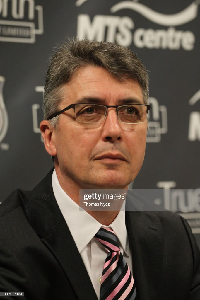 Claude Noel speaks after being named head coach for Winnipeg's new NHL Team at the Westin Minneapolis on June 24, 2011 in Minneapolis, Minnesota.