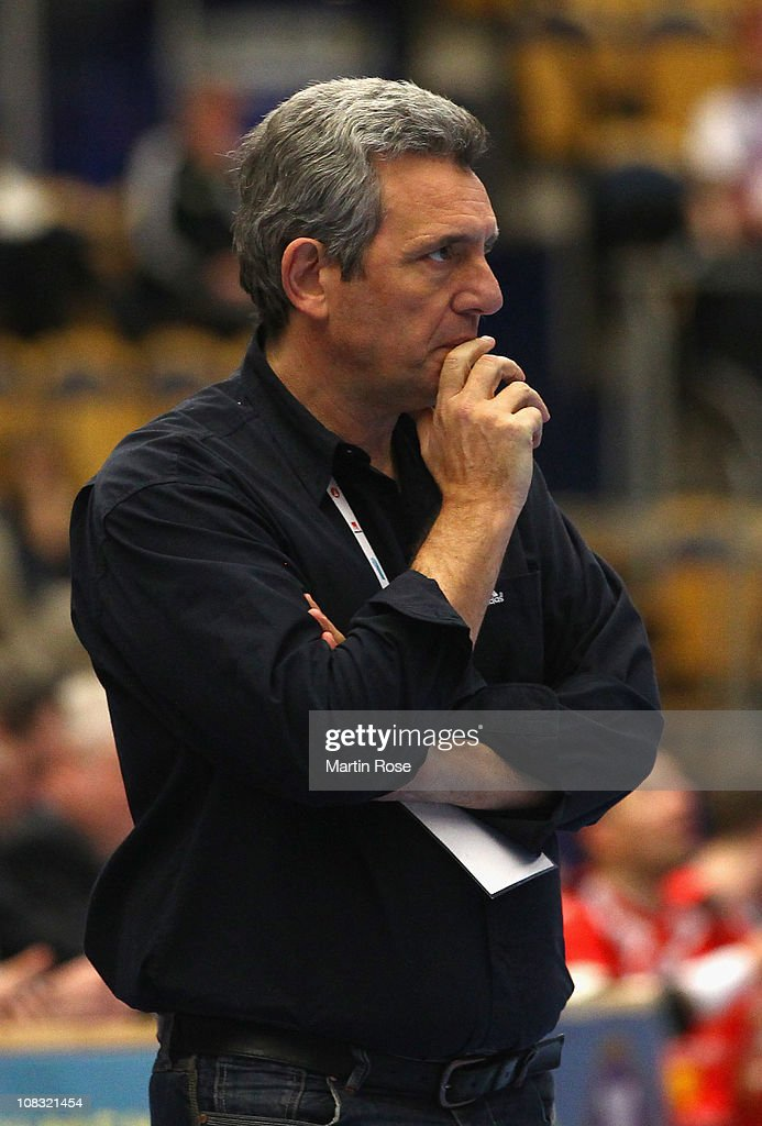 <a gi-track='captionPersonalityLinkClicked' href=/galleries/search?phrase=Claude+Onesta&family=editorial&specificpeople=792495 ng-click='$event.stopPropagation()'>Claude Onesta</a>, head coach of France reacts during the Men's Handball World Championship main round group I match between France and Iceland at Kinnarps Arena on January 25, 2011 in Jonkoping, Sweden.