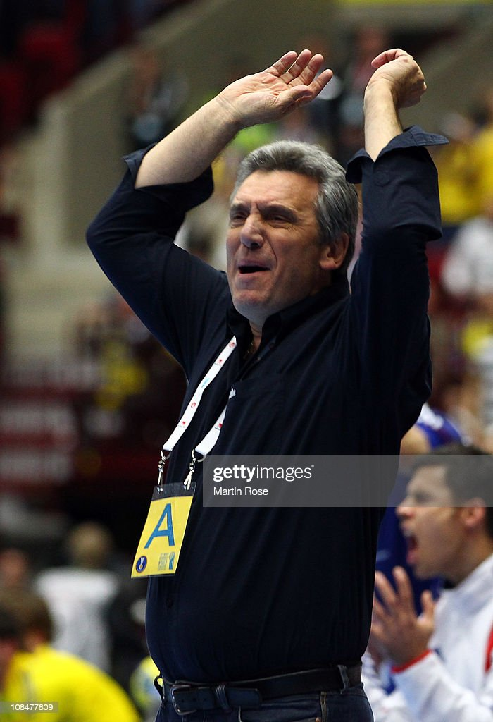<a gi-track='captionPersonalityLinkClicked' href=/galleries/search?phrase=Claude+Onesta&family=editorial&specificpeople=792495 ng-click='$event.stopPropagation()'>Claude Onesta</a>, head coach of France reacts during the Men's Handball World Championship semi final match between Sweden and France at Malmo Arena on January 28, 2011 in Malmo, Sweden.