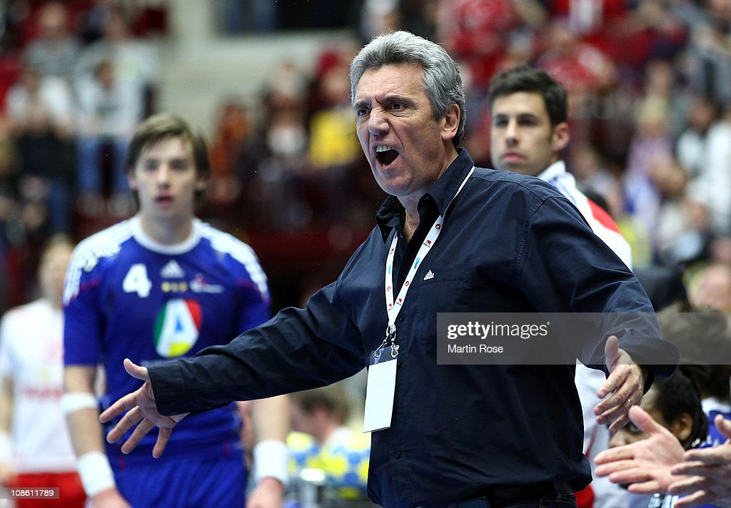 <a gi-track='captionPersonalityLinkClicked' href=/galleries/search?phrase=Claude+Onesta&family=editorial&specificpeople=792495 ng-click='$event.stopPropagation()'>Claude Onesta</a>, head coach of France reacts during the Men's Handball World Championship final match between France and Danmark at Malmo Arena on January 30, 2011 in Malmo, Sweden.