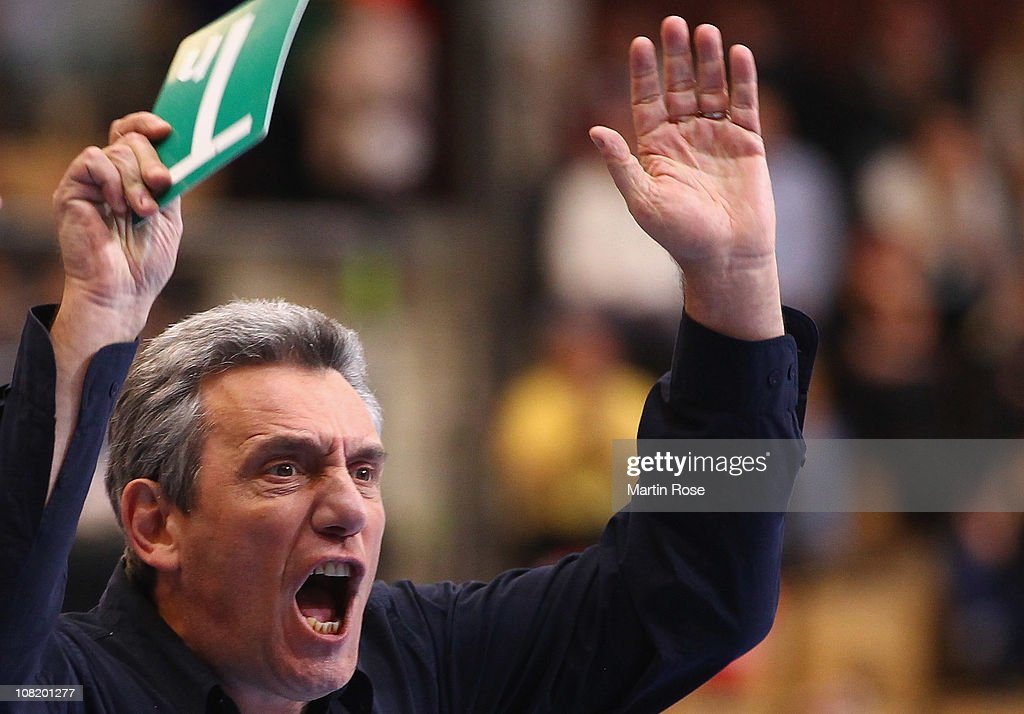 <a gi-track='captionPersonalityLinkClicked' href=/galleries/search?phrase=Claude+Onesta&family=editorial&specificpeople=792495 ng-click='$event.stopPropagation()'>Claude Onesta</a>, head coach reacts during the Men's Handball World Championship Group A match between France and Spain at Kristianstad Arena on January 20, 2011 in Kristianstad, Sweden.