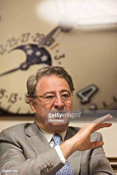 Claude Peny chief executive officer of of Patek Philippe SA gestures as he speaks during an interview at the company's booth during the 2017...