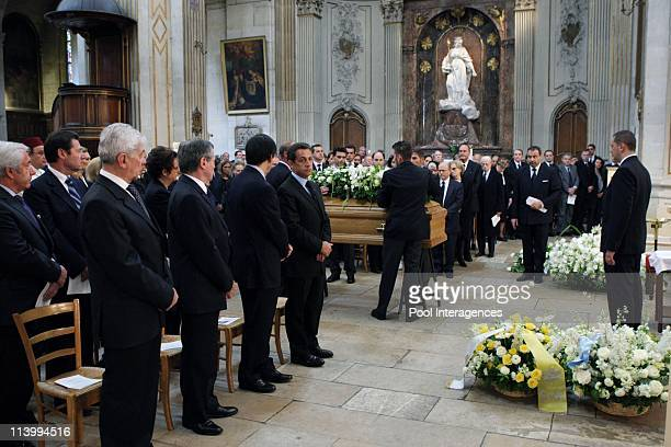 Claude Pompidou's funeral In Paris France On July 06 2007French President Nicolas Sarkozy Prime Minister Francois Fillon and Pompidou family and...