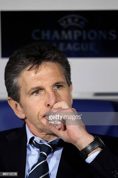 Claude Puel Coach of Olympique Lyonnais looks on during the UEFA Champions League quarter final second leg match between Bordeaux and Olympique...
