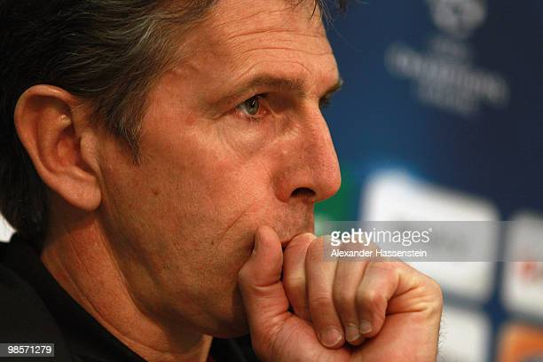 Claude Puel head coach of Olympic Lyon looks during a press conference on April 20 2010 in Munich Germany Olympic Lyon will play against Bayern...