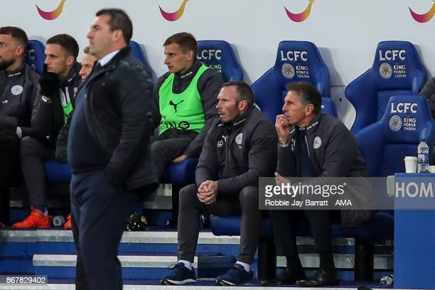 Claude Puel manager / head coach of Leicester City and Michael Appleton assistant head coach / manager of Leicester City look on during the Premier...