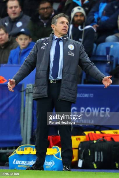 Claude Puel Manager of Leicester City gestures during the Premier League match between Leicester City and Manchester City at The King Power Stadium...