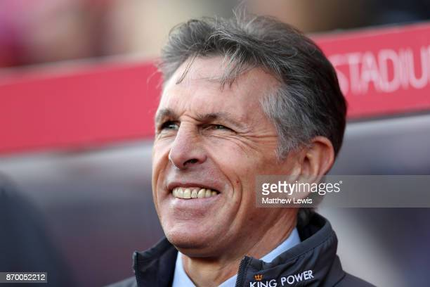 Claude Puel Manager of Leicester City looks on during the Premier League match between Stoke City and Leicester City at Bet365 Stadium on November 4...