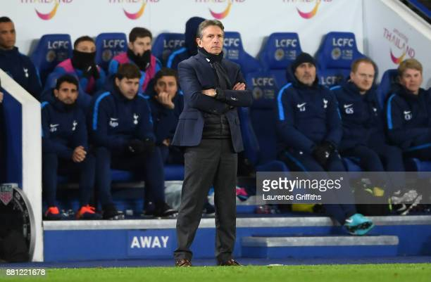Claude Puel Manager of Leicester City looks on during the Premier League match between Leicester City and Tottenham Hotspur at The King Power Stadium...