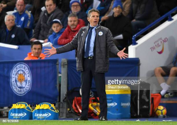 Claude Puel Manager of Leicester City reacts during the Premier League match between Leicester City and Everton at The King Power Stadium on October...