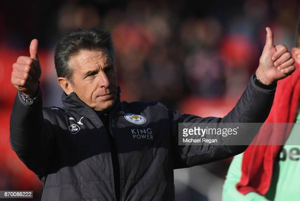 Claude Puel Manager of Leicester City shows appreciation to the fans after the Premier League match between Stoke City and Leicester City at Bet365...