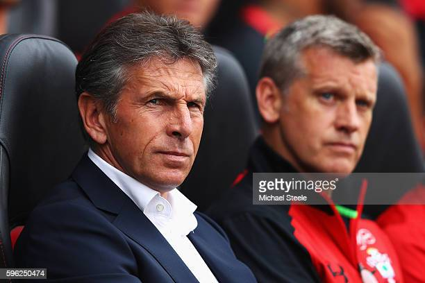 Claude Puel Manager of Southampton and Southampton coach Eric Black look on during the Premier League match between Southampton and Sunderland at St...