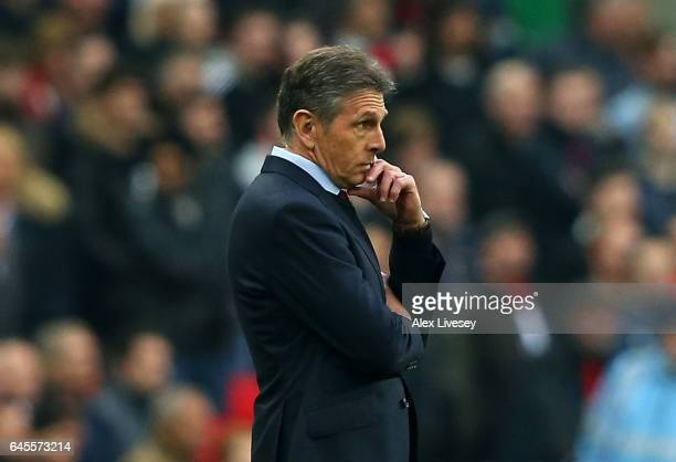 Claude Puel manager of Southampton looks on during the EFL Cup Final match between Manchester United and Southampton at Wembley Stadium on February...