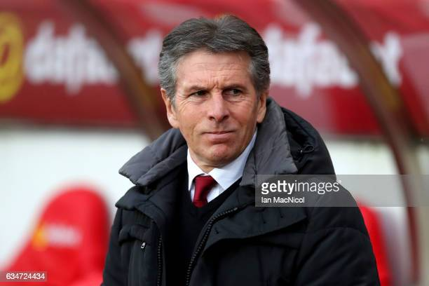 Claude Puel Manager of Southampton looks on during the Premier League match between Sunderland and Southampton at Stadium of Light on February 11...