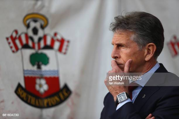 Claude Puel Manager of Southampton looks on during the Premier League match between Southampton and Arsenal at St Mary's Stadium on May 10 2017 in...