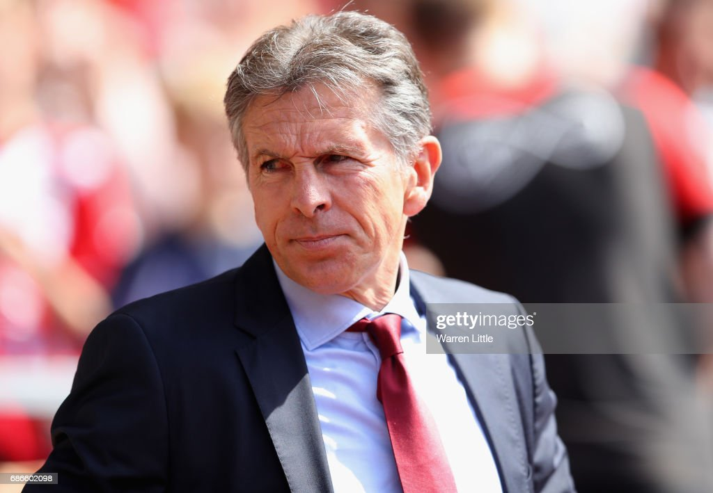 Claude Puel, Manager of Southampton looks on during the Premier League match between Southampton and Stoke City at St Mary's Stadium on May 21, 2017 in Southampton, England.