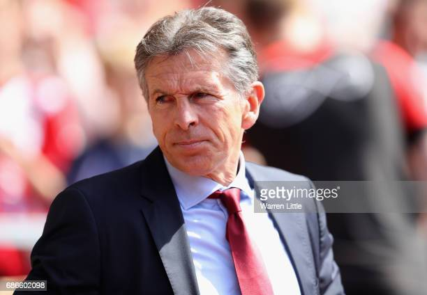 Claude Puel Manager of Southampton looks on during the Premier League match between Southampton and Stoke City at St Mary's Stadium on May 21 2017 in...