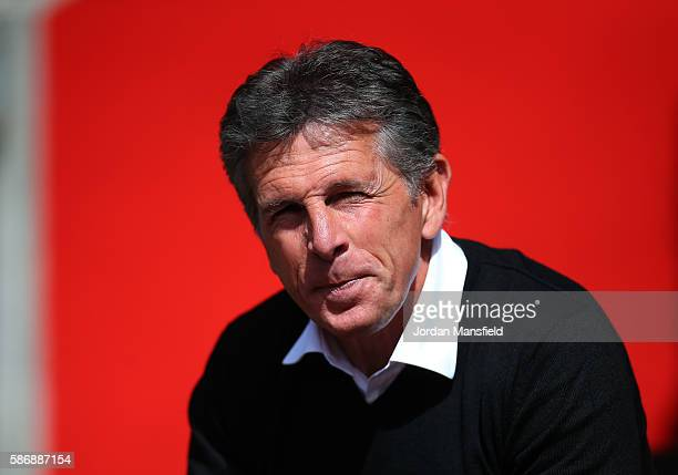 Claude Puel manager of Southampton looks on during the preseason friendly between Southampton and Athletic Club Bilbao at St Mary's Stadium on August...