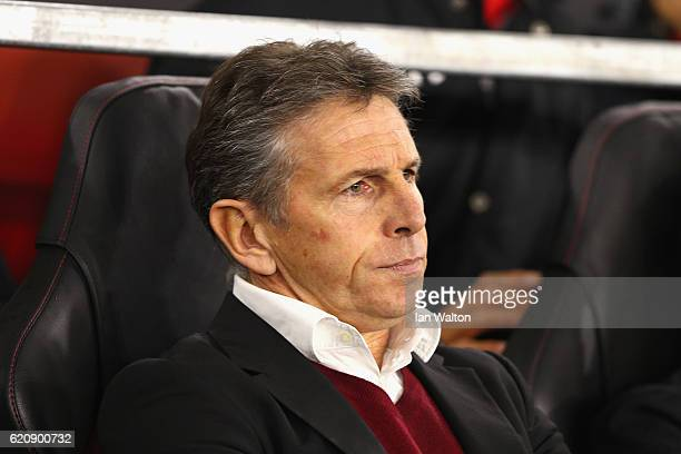 Claude Puel Manager of Southampton looks on during the UEFA Europa League Group K match between Southampton FC and FC Internazionale Milano at St...