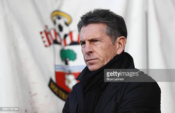 Claude Puel Manager of Southampton looks on prior to the Premier League match between Southampton and West Bromwich Albion at St Mary's Stadium on...