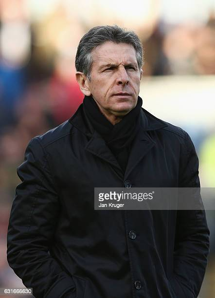 Claude Puel manager of Southampton looks on prior to the Premier League match between Burnley and Southampton at Turf Moor on January 14 2017 in...