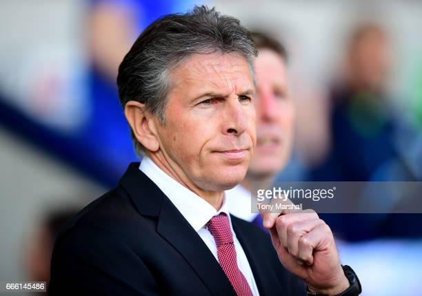 Claude Puel Manager of Southampton looks on prior to the Premier League match between West Bromwich Albion and Southampton at The Hawthorns on April...