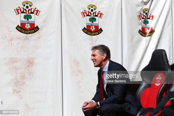 Claude Puel Manager of Southampton looks on prior to the Premier League match between Southampton and Stoke City at St Mary's Stadium on May 21 2017...