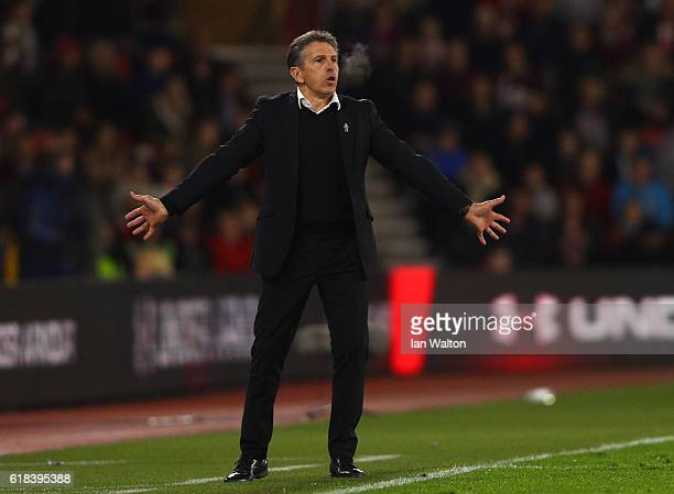 Claude Puel Manager of Southampton reacts during the EFL Cup fourth round match between Southampton and Sunderland at St Mary's Stadium on October 26...