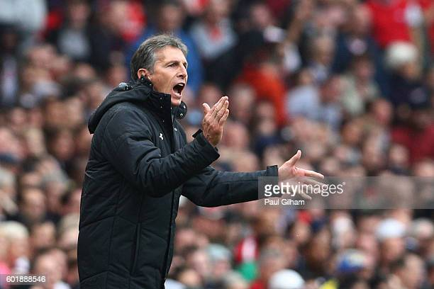 Claude Puel Manager of Southampton reacts during the Premier League match between Arsenal and Southampton at Emirates Stadium on September 10 2016 in...
