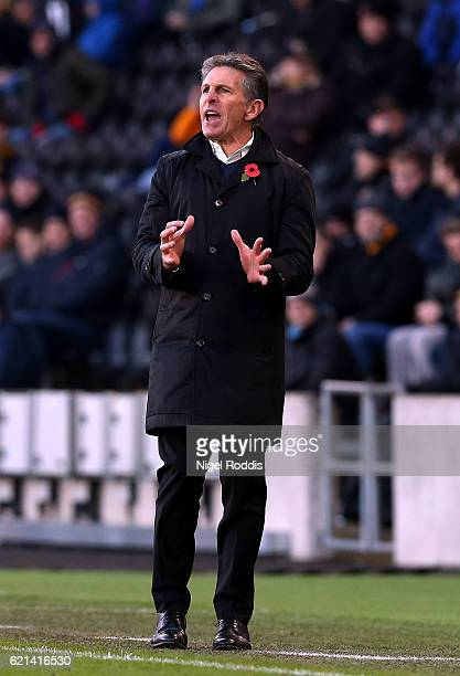 Claude Puel Manager of Southampton reacts during the Premier League match between Hull City and Southampton at KC Stadium on November 6 2016 in Hull...