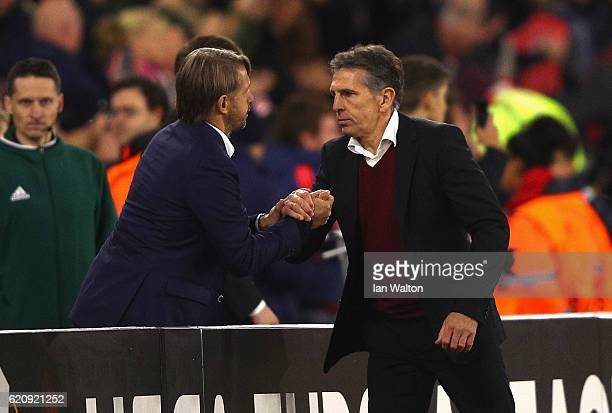 Claude Puel Manager of Southampton shakes hands with Stefano Vecchi Manager of Internazionale after the UEFA Europa League Group K match between...