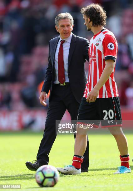 Claude Puel Manager of Southampton walks off the pitch with Manolo Gabbiadini after the Premier League match between Southampton and Stoke City at St...