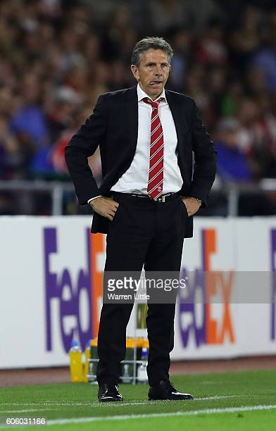 Claude Puel SOuthampton FC manager looks on during the UEFA Europa League match between Southampton FC v AC Sparta Praha at St Mary's Stadium on...