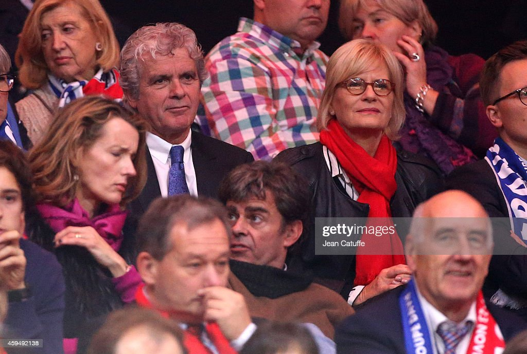 Claude Serillon and his wife Catherine Ceylac attend day one of the Davis Cup tennis final between France and Switzerland at the Grand Stade Pierre Mauroy on November 21, 2014 in Lille, France.