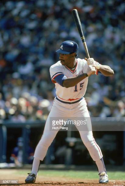 Claudell Washington of the Atlanta Braves readies at bat during a game in the1983 season Claudell Washington played for the Atlanta Braves from...