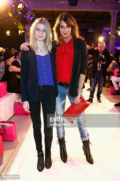 Claudelle Deckert and daughter attend the Passionata show during the Platform Fashion February 2015 on February 1 2015 in Duesseldorf Germany