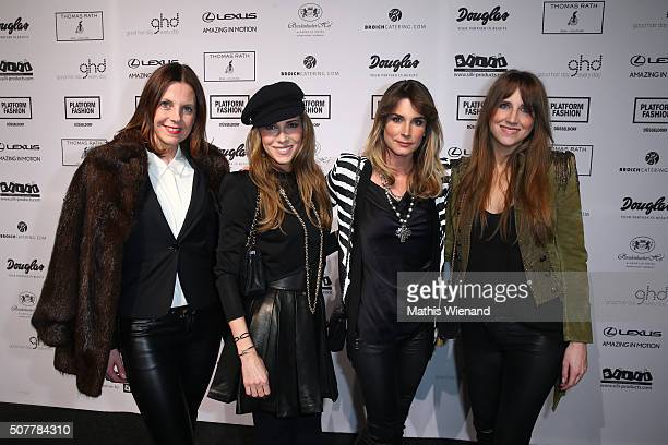 Claudelle Deckert and friends attend the Thomas Rath show during Platform Fashion January 2016 at Areal Boehler on January 31 2016 in Duesseldorf...