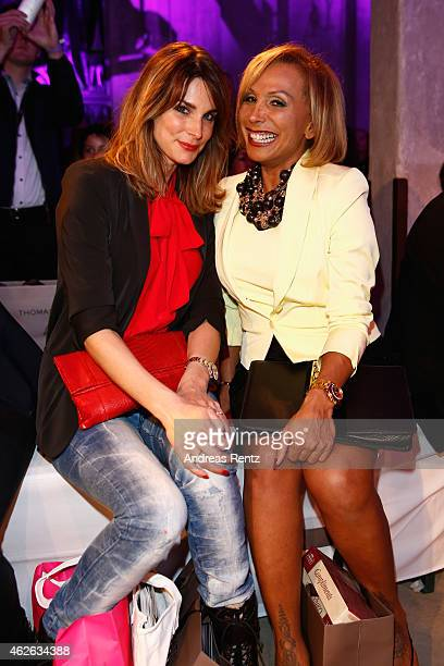 Claudelle Deckert and Julia Prillwitz attend the Thomas Rath show during the Platform Fashion February 2015 on February 1 2015 in Duesseldorf Germany