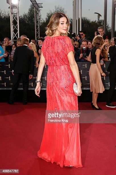 Claudelle Deckert attends the red carpet of the Deutscher Fernsehpreis 2014 on October 02 2014 in Cologne Germany