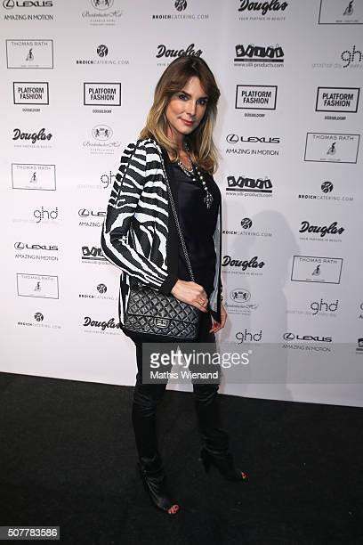 Claudelle Deckert attends the Thomas Rath show during Platform Fashion January 2016 at Areal Boehler on January 31 2016 in Duesseldorf Germany