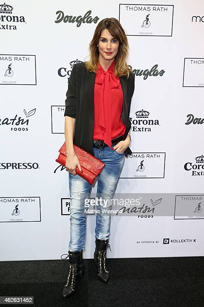 Claudelle Deckert attends the Thomas Rath show during the Platform Fashion February 2015 on February 1 2015 in Duesseldorf Germany