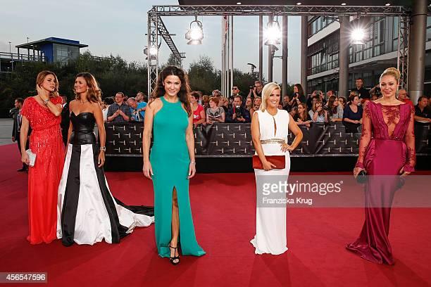 Claudelle Deckert Sandra Thier Mariella Ahrens Jennifer Knaeble and Ruth Moschner attend the red carpet of the Deutscher Fernsehpreis 2014 on October...