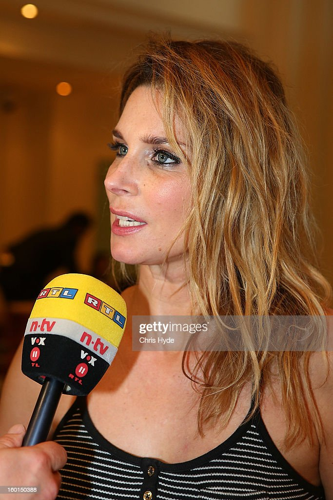 Claudelle Deckert talks to media at the Versace hotel after spending two weeks in the Australian Outback on January 27, 2013 in Gold Coast, Australia. The German celebrities are participants in the 2013- RTL-TV-Show 'Dschungelcamp' - Ich bin ein Star - Holt mich hier raus!.