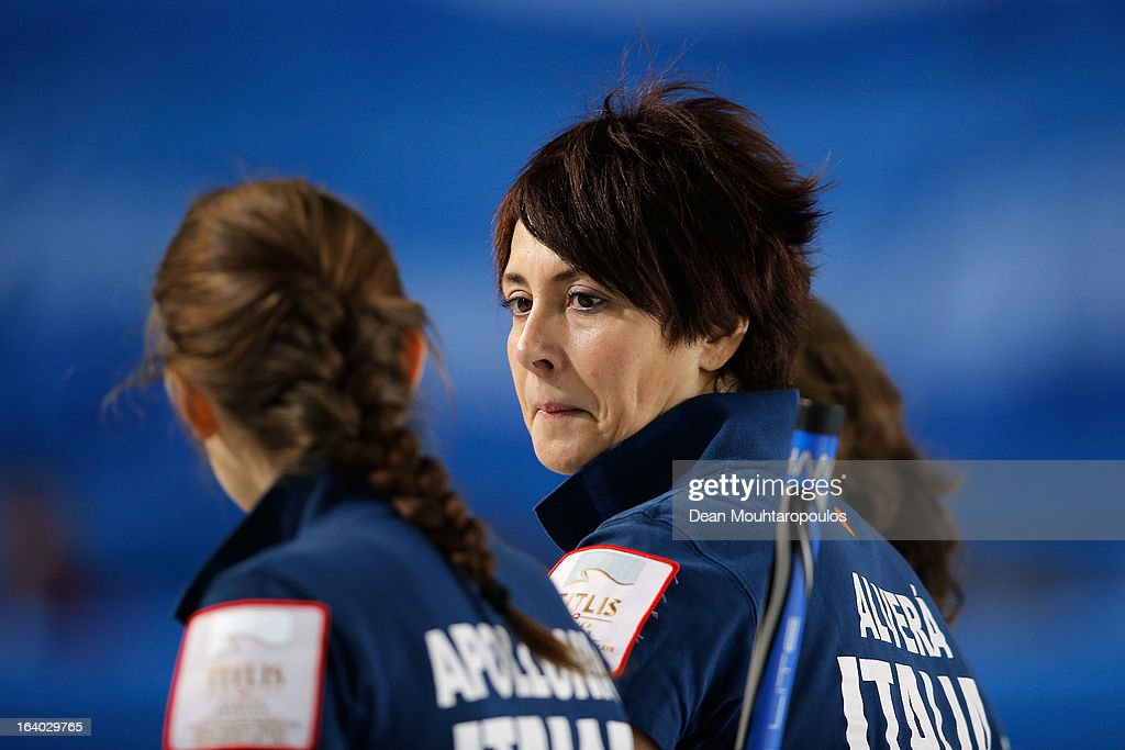Claudia Alvera of Italy looks on in the match between Japan and Italy on Day 4 of the Titlis Glacier Mountain World Women's Curling Championship at the Volvo Sports Centre on March 19, 2013 in Riga, Latvia.