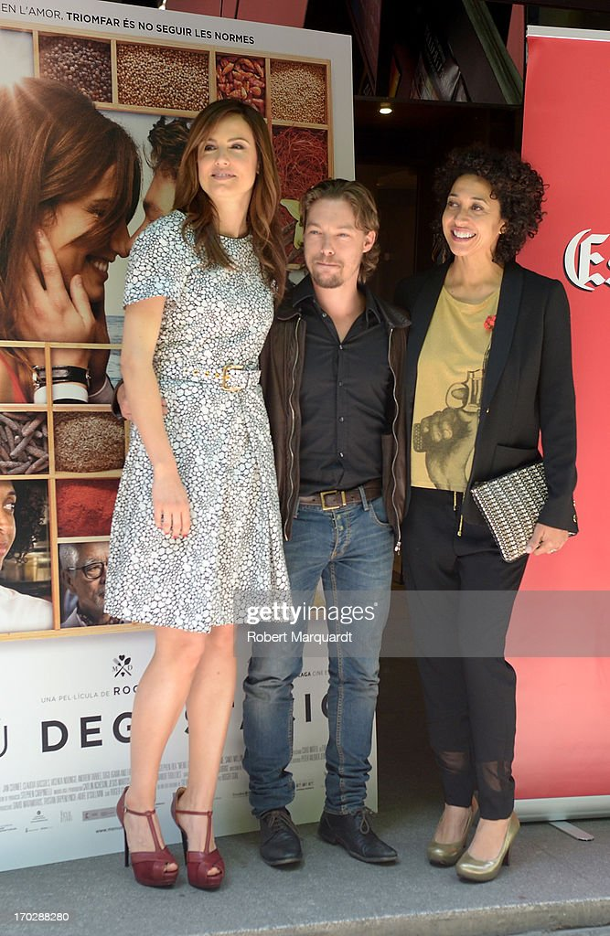 Claudia Bassols, Jan Cornet and Vicenta N'Dongo pose during a photocall for their latest film 'Menu Degustacion' at the Cine Girona on June 10, 2013 in Madrid, Spain.