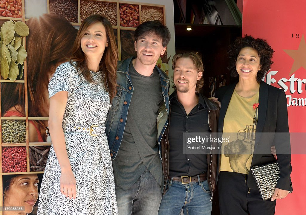 Claudia Bassols, Roger Gual, Jan Cornet and Vicenta N'Dongo pose during a photocall for their latest film 'Menu Degustacion' at the Cine Girona on June 10, 2013 in Madrid, Spain.